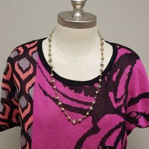 Worthington pink, black, peach on side dress shirt